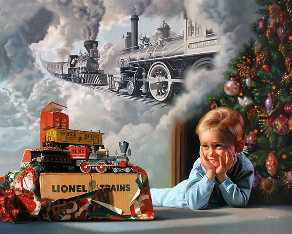 electric train christmas morning