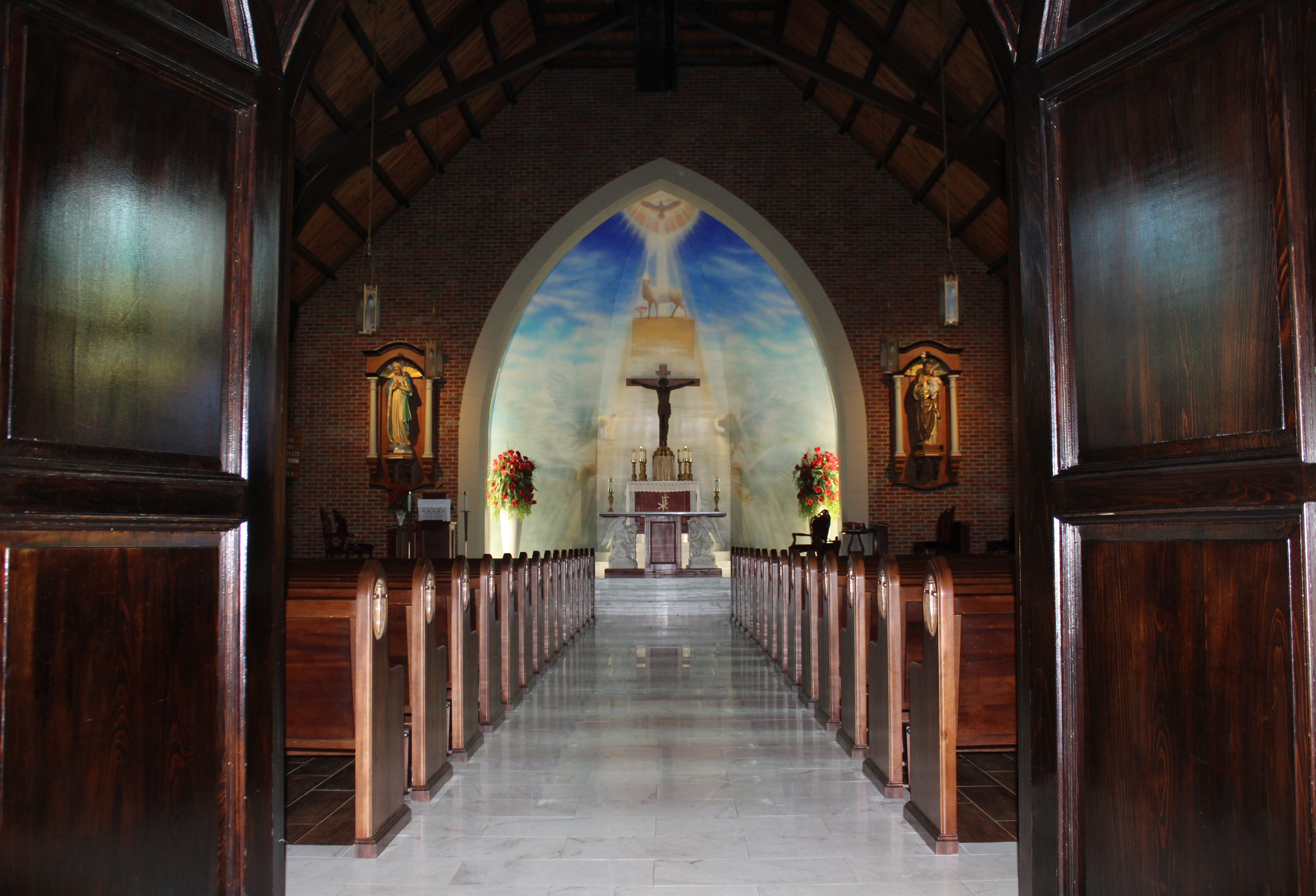 front of church aisle with doors no light copy