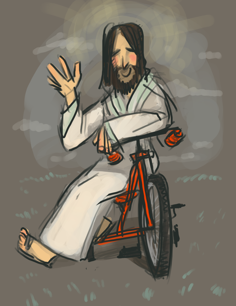 jesus on bike